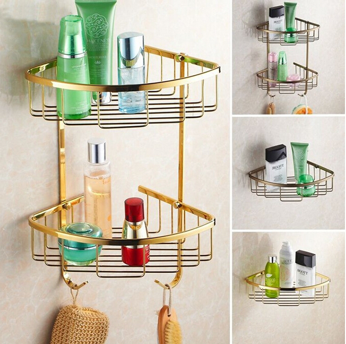 Wall Mounted Gold Brass Bathroom Corner Shelf Bathroom Shampoo Shelf Bath Shower Shelf Soap Basket Holder building materia цена