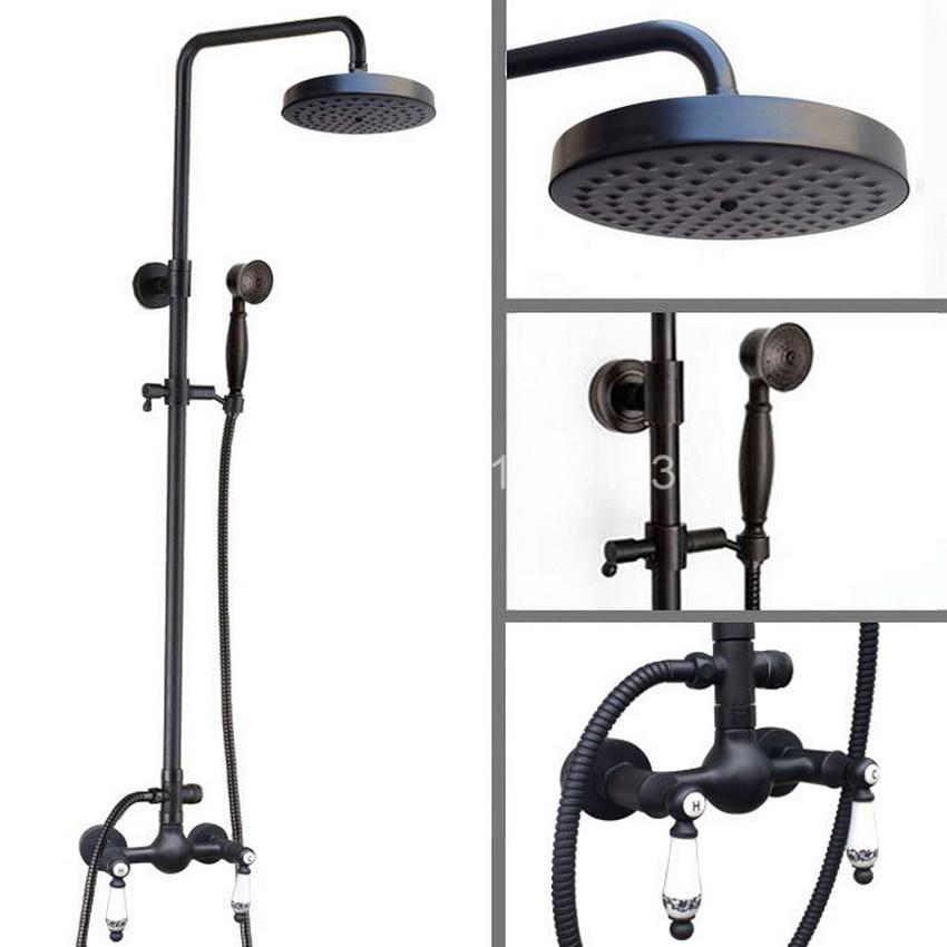 Dark Black Oil Rubbed Brass 7.7 inch shower Head Double Ceramics Handles Wall Mounted Bathroom Rain Shower Faucet Set ars516