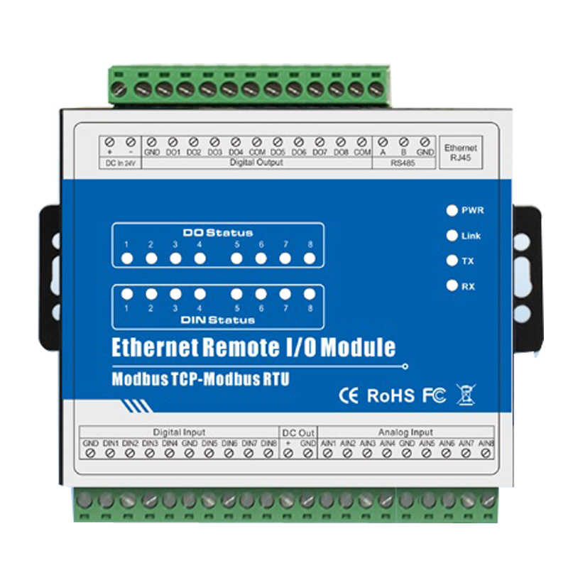 Industrial Ethernet Remote I/O Module RJ45 to RS485 Data Acquisition 8 Digital Output supports High Speed Pulse Output