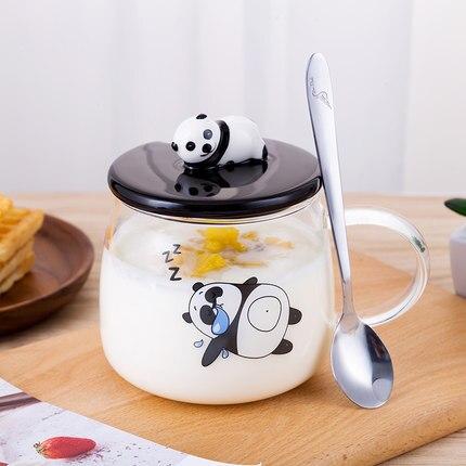 450ml Cute Cartoon Panda Mug with cover spoon Tumblers Breakfast milk coffee Cup Heat Resistant Transparent Glass Water Cup