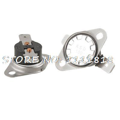 2 Pcs 100 Celsius Temperature Control Switch Thermostat NC KSD Series 250V 10A 5 x 75c manual reset thermostat normal closed temperature switch 250v 10a
