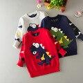 Dinossauro dos desenhos animados Do Bebê menino camisola Crianças camisola Do Natal camisola das Crianças pullover Crianças outwear CC114