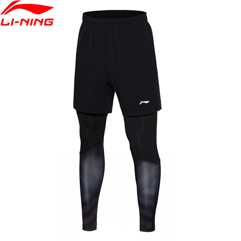 Li-Ning Men Layer Pants Tight Fit Badminton Competition Bottom Comfort Fitness Elastic LiNing Sports Pants AAPN151 MKY370