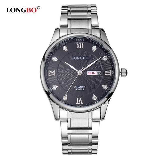 Amantes LONGBO Luxo Casal Relógios Homens Data Dia de Ouro À Prova D' Água de Aço Inoxidável Quartzo Relógio de Pulso Montre Homme 80080B