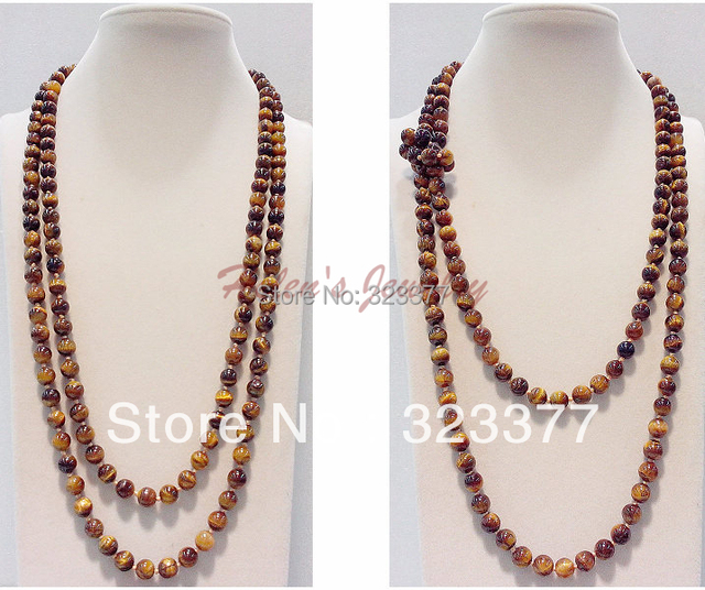 120-130CM Long 8MM Round Natural Tigereye Sweater Necklace, Having Different Wearring Styles.. Nice Gift For All Mothers!
