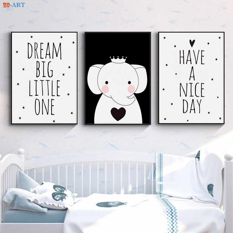 Baby Elephant Print Quotes Poster Baby Kids Children Boys Girls Room Nursery Wall Art Black and White Canvas Painting Picture