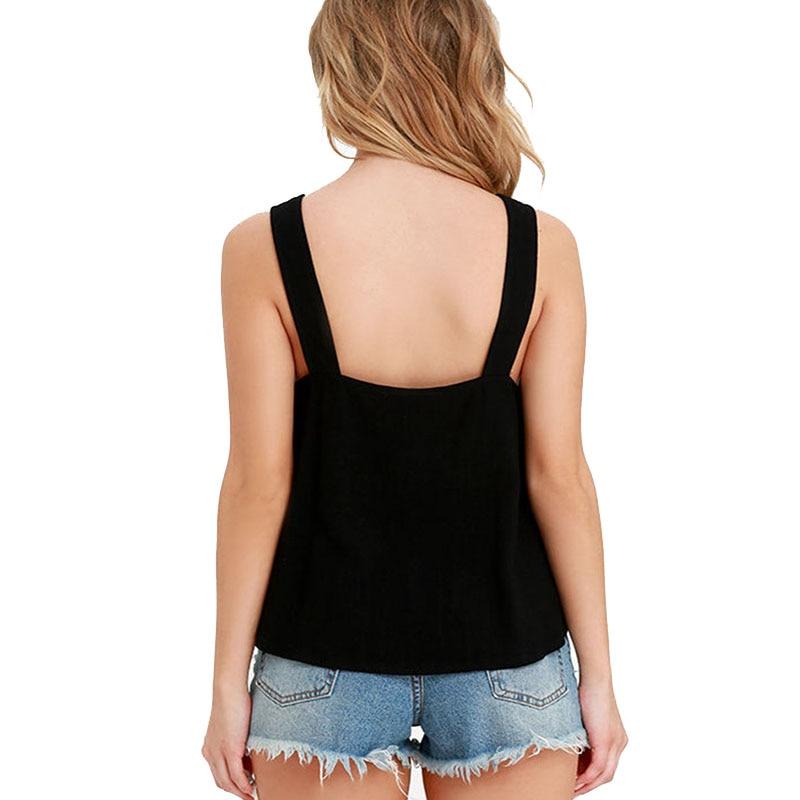 bace210c45 Sexy Camisetas de tirantes mujeres VERANO 2016 chaleco top negro sin mangas  mujer camisola corta tanque impresión blusa sexy camiseta tops en Tank Tops  de ...