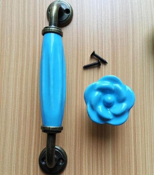 128mm Rusic Retro bronze kitchen cabinet dresser door handle blue ceramic drawer shoe cabinet knob pull flower pumpkin knob 5