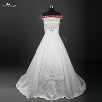 RSW759 Exquisite Off Shoulder Boat Neck White And Red Embroidery Satin Wedding Dress Silver Beaded Burgundy