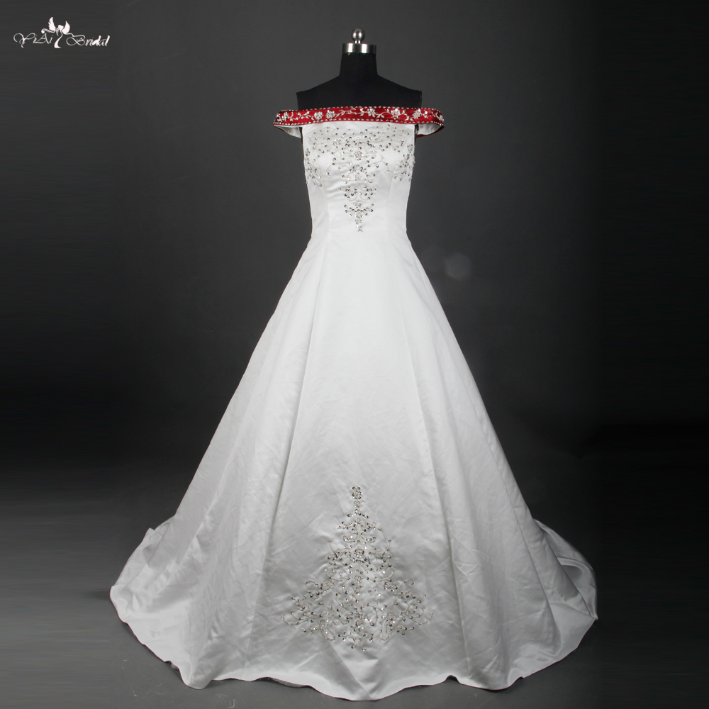 RSW759 Exquisite Off Shoulder Boat Neck White And Red Embroidery Satin Wedding Dress Silver Beaded Burgundy Wedding Dresses