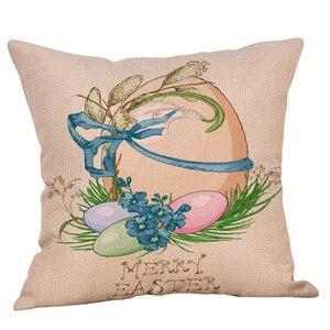 Image 4 - かわいいウサギのプリントコットンリネン広場ホーム装飾スロー枕ソファ腰クッションカバー快適な装飾枕