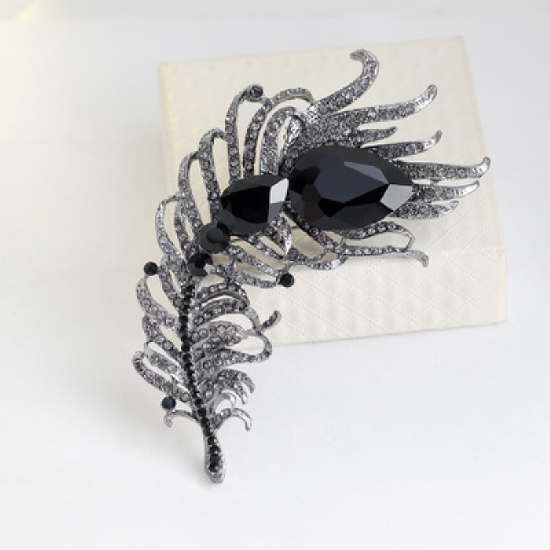 New 6 Colors Full Crystal Peacock Feathers Brooches Enamel Metal Brooch Pin for Women Wedding Party Brooch Jewelry Accessories in Brooches from Jewelry Accessories