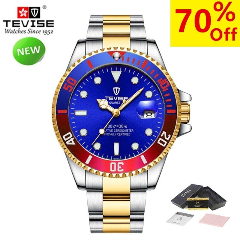 New Watches Men Luxury Brand TEVISE Fashion Waterproof Casual Quartz Watch Sport Stianless Steel Mens Wrist Watches Male Clock oem stianless uab