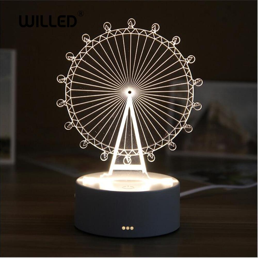 3D LED Table Lamp Resin Night Light Cute Bear LOVE Castle Table Light ABS+Resin Multi-design Gift Lamp For Children Bedroom