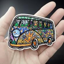 Размер автобуса: 5,8x6,7 см вышитая нашивка для одежды, пришивная аппликация, милая тканевая одежда, обувь, сумки, украшение, нашивки