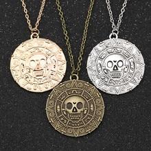 Colar de piratas do caribe, jack, sparrow, moeda aztec, medalhão, johnny depp, vintage, pingente de bronze dourado, atacado