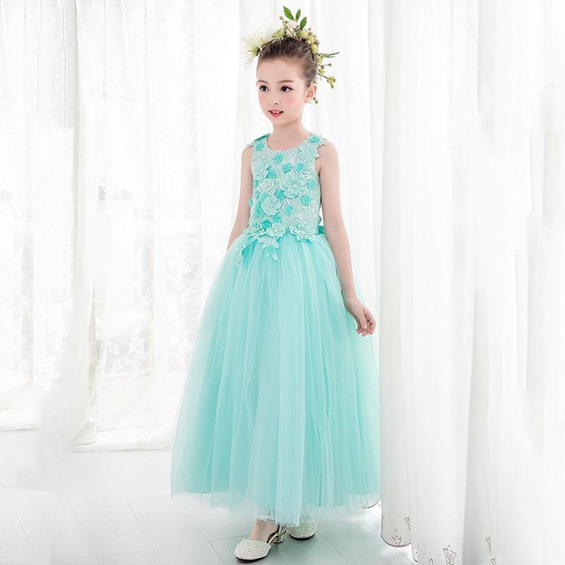 2018 Summer Girls Wedding Dress Long Elegant Green Girl Vestido Menina 4 6 8 10 12 14 Years Old Kids Clothes 184032