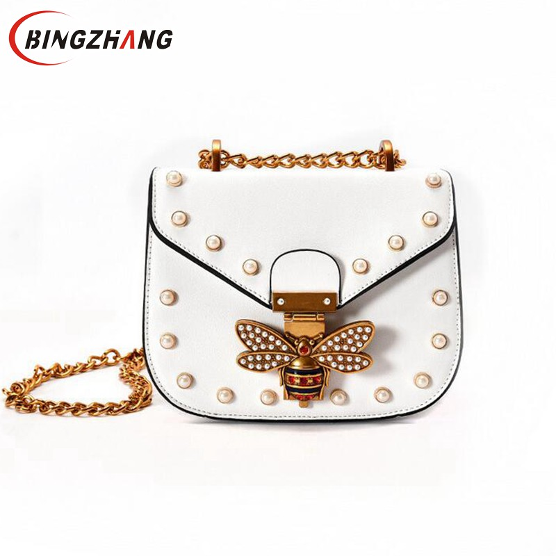 Fashion Design Bee Metal Pearl Pu Leather Chain Ladies Shoulder Bag Handbag Flap Purse Female Crossbody Messenger Bag L4-3050  2016 fashion mini laser metal chain letters pu leather clutch purse wallet chain messenger bag shoulder bag handbag 6 colors