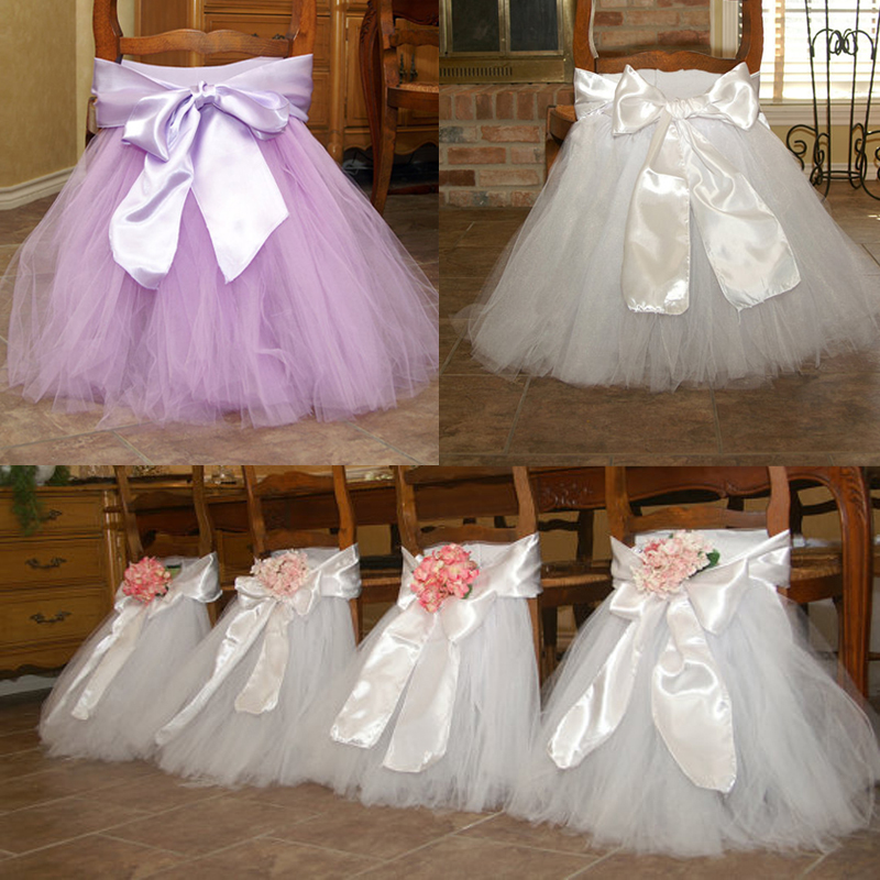 wedding banquet chair cover bow tulle tutu chair skirt for baby shower