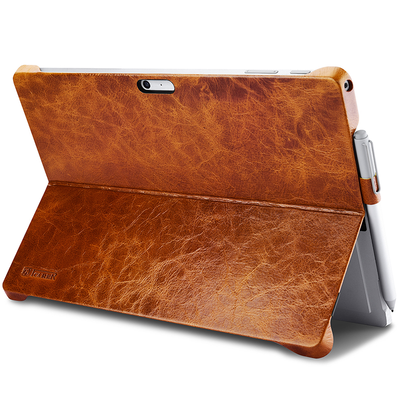 Brand Case for Microsoft Surface Pro 5 W/ Pencil Holder Cover for Surface Pro 4 Oil Wax Vintage Genuine Leather Back Case Brown bottom cover for microsoft new surface pro 5 housing back cover case rear casing housing replacement repair part