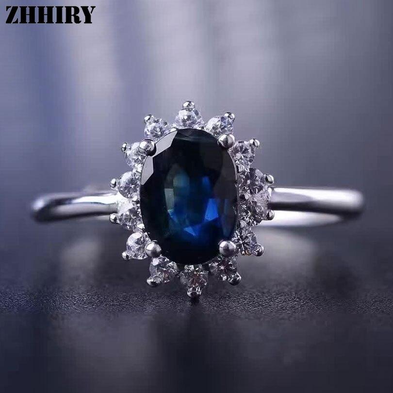 Women Genuine Sapphire Ring 925 Sterling Silver Natural Ink Blue Gemstone Fine Jewelry Wedding Engagement Birthstone