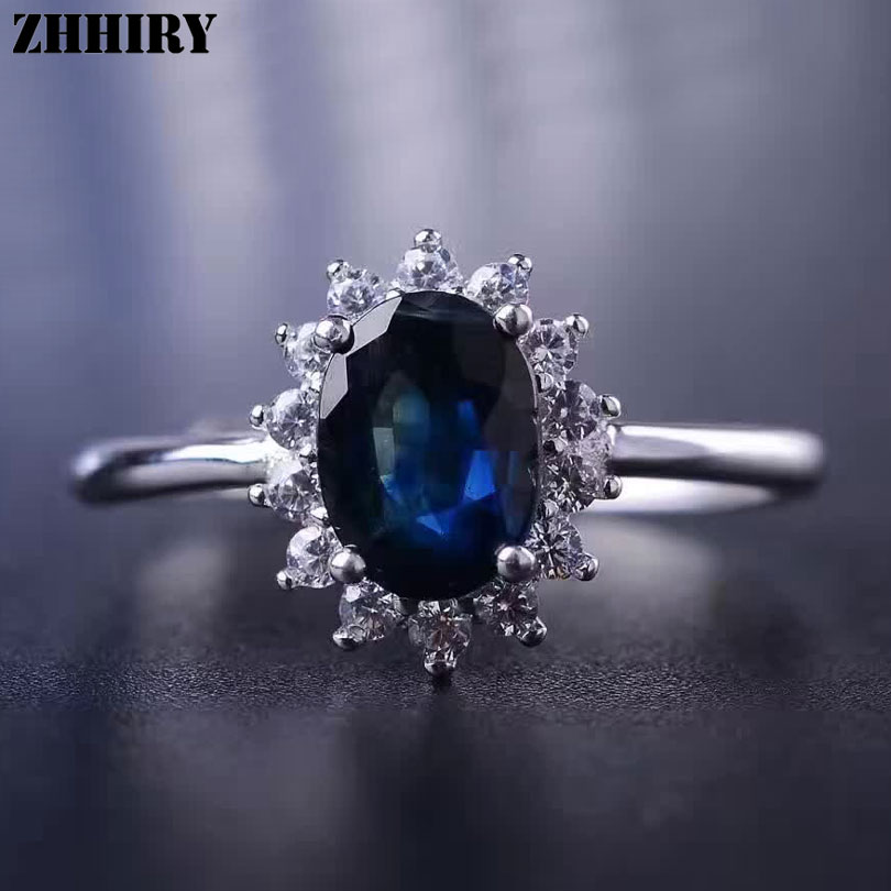 Women Genuine Sapphire Ring 925 Sterling Silver Natural Ink Blue Gemstone Fine Jewelry Wedding Engagement Birthstone ZHHIRY-in Rings from Jewelry & Accessories    1