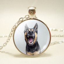 Pet Necklace Wolf Dog Picture Pendant Glass Necklace Cabochon Silver Plated Link Chain Choker Gift for Women for Men(China)