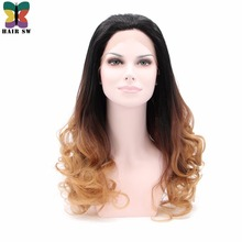 HAIR SW Long Wavy Synthetic Lace Front wigs Black Blonde Ombre Ash Brown Glueless Heat Resistant For Brunettes