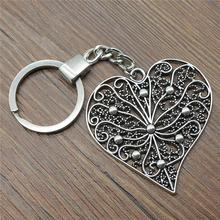 Women Jewelry Gift Key Chain New Vintage Metal Key Chains Antique Silver 52x52mm Big Hollow Carved Heart Charm Key Rings women jewelry gift key chain new vintage metal key chains antique silver 52x52mm big hollow carved heart charm key rings