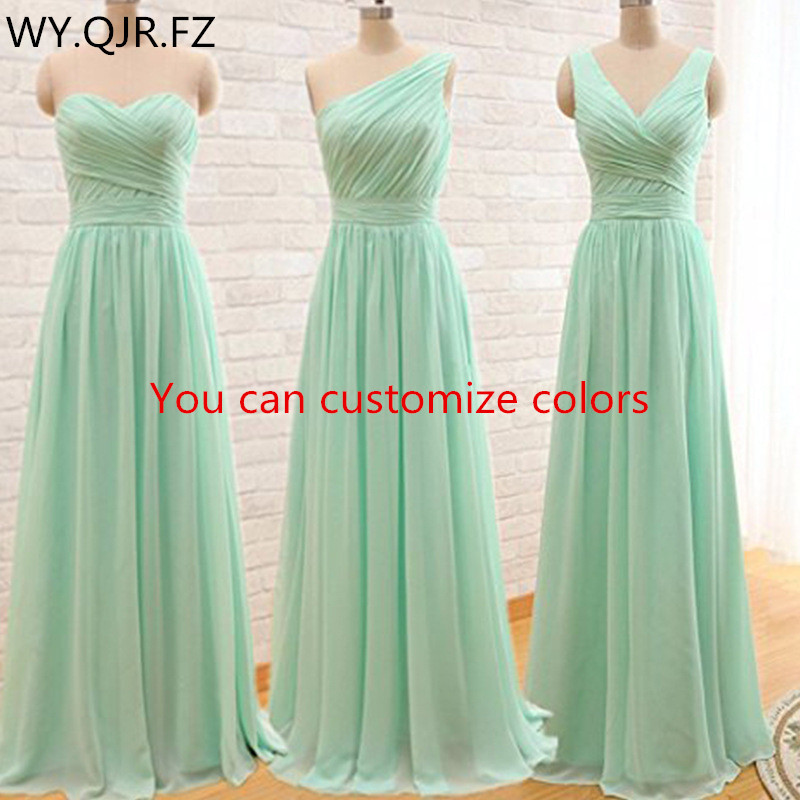 QNZL95#Custom colors long Bridesmaid Dresses mint green Chiffon wedding party dress party gown wholesale women's cheap clothing(China)