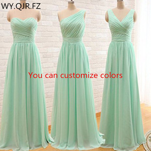 Image 2 - QNZL95#Custom Colors Long Bridesmaid Dresses Mint Green Chiffon Wedding Party Dress Party Gown Wholesale Womens Cheap Clothing