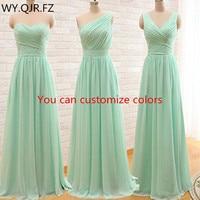QNZL95#Custom colors long Bridesmaid Dresses mint green Chiffon wedding party dress party gown wholesale women's cheap clothing