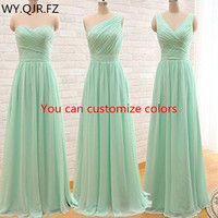 QNZL95#Custom colors long Bridesmaid Dresses mint green Chiffon wedding party dress party gown wholesale women's cheap clothing