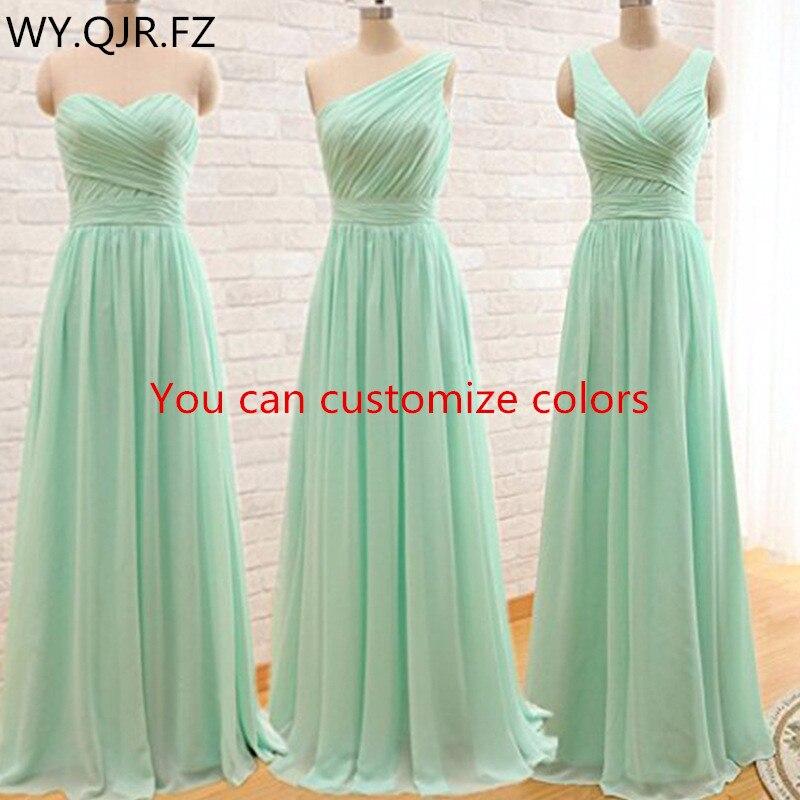 QNZL95 # couleurs personnalisées longues robes de demoiselle d'honneur vert menthe robe de soirée de mariage en mousseline de soie robe de soirée en gros vêtements bon marché pour femmes