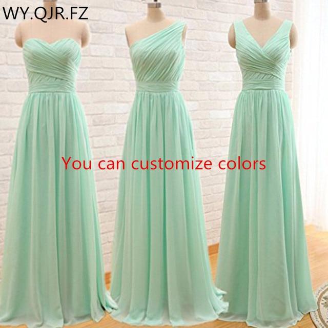 QNZL95 # מותאם אישית צבעים ארוך שושבינה שמלות מנטה ירוק שיפון חתונת שמלת שמלה סיטונאי נשים של זול בגדים