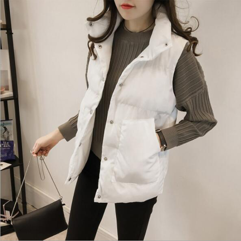 Thin Style Autumn Winter Women Waistcoat Solid Color Sleeveless Turn-down Collar Woman Vest Single Breasted Women Coats