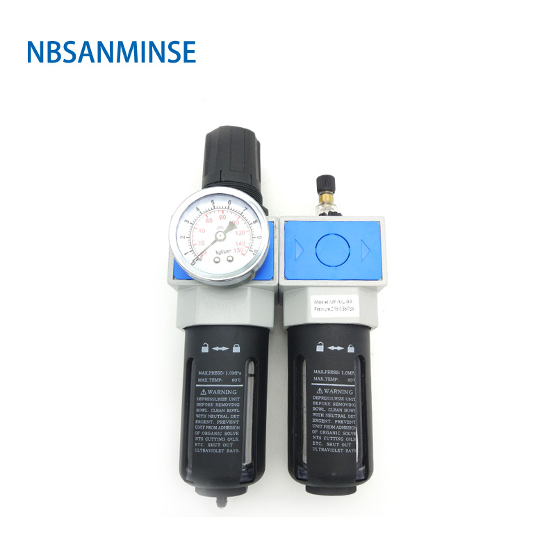 NBSANMINSE Air Compressor 1/4 3/8 1/2 3/4 1 UFRL Air Filter Regulator Oil Water Separator Trap Filter Regulator  Free Shopping