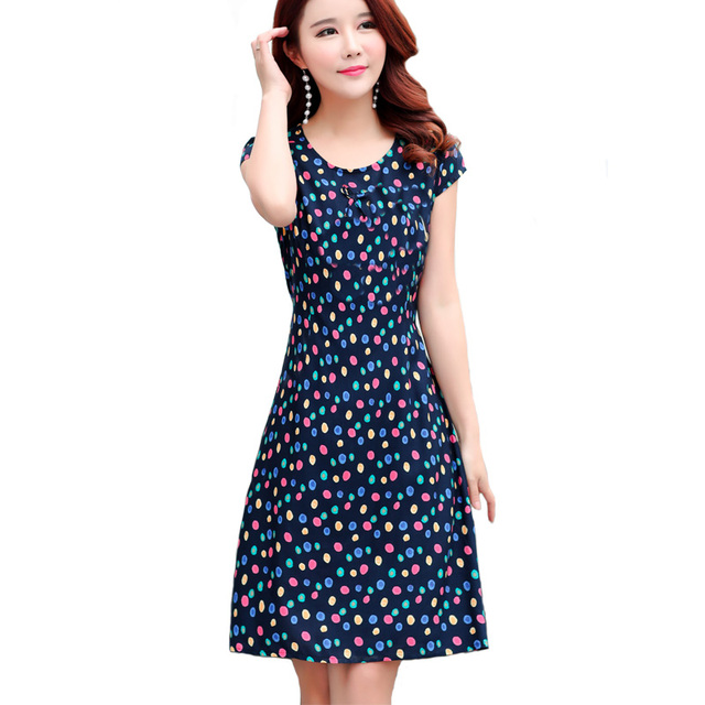03113fca3b Summer Dress Casual O Neck Print Vintage Vestidos Verano 2018 Dress Womens  Clothing Plus Size Dresses