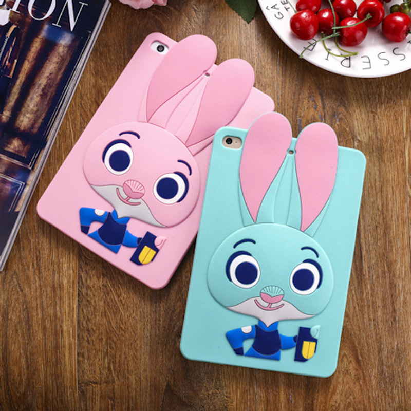 Tablet Case For ipad 2017 9.7 inch Cute Cartoon Rabbit Kids Shockproof Silicone Rubber Stand Back Cover For ipad 2018 Case  (5)