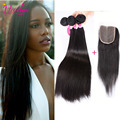 Brazilian Hair 4 Bundles Straight Hair With Closure 7A Brazilian Virgin Hair Straight Weave Bundles With Lace Closure Brown