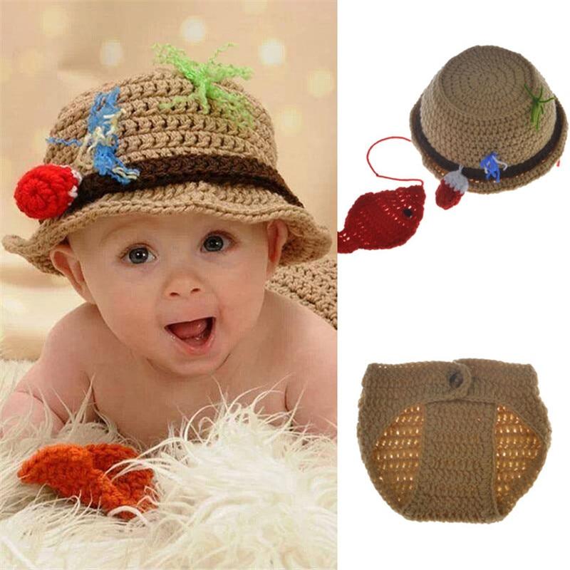 Для новорожденных рыбак шляпу и Брюки для девочек комплект крючком реквизит для фотосесс ...