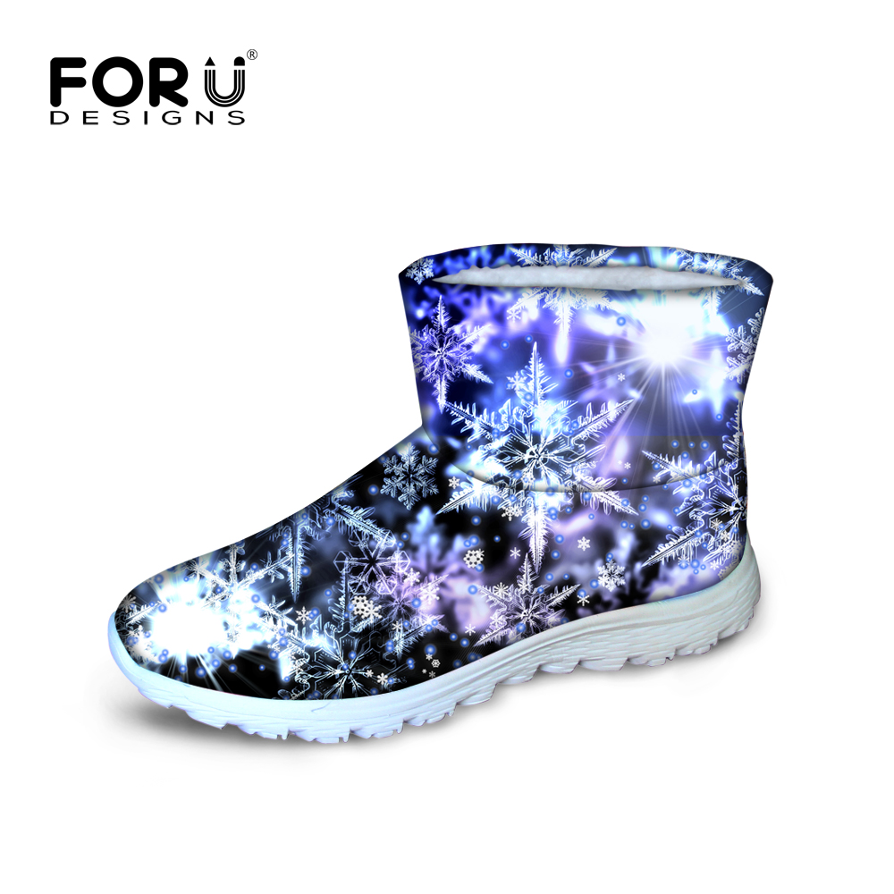 ФОТО 2017 Autumn Winter Flock Boots Polyester Women Slip-On Ankle Boots Snowflake Printed Women Solid Flat Shoes Plus Size 35-45