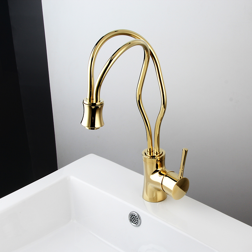 New Kitchen faucet Golden Copper cold and hot water tap Luxury Sink faucet Vegetable washing basin 360 degree rotating faucet mttuzk kitchen faucet golden rose gold copper for cold and hot water tap sink faucet vegetable washing basin 360 rotating faucet
