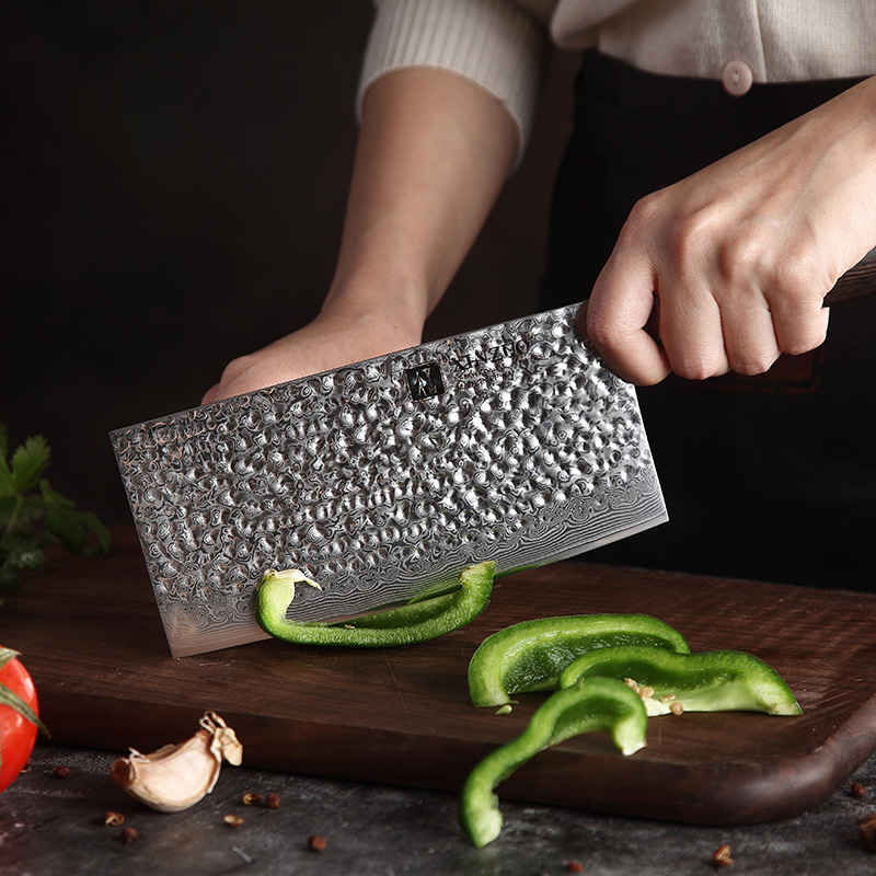 XINZUO 7 PCS Pro Kitchen Knife Set Japanese Style Kitchen knives Meat Cleaver Fruit Paring Knife Damascus Steel Chef Knife Set