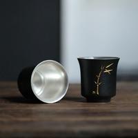 TANGPIN 999 silver porcelain teacup ceramic tea cup handmade chinese kung fu cup 115ml