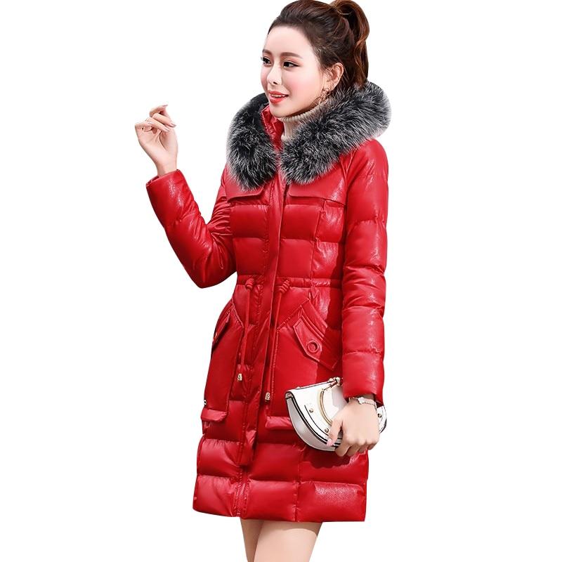 Femmes red Le Col Parkas Coton Pardessus Bas Pu À Cuir Mode Hiver Veste Capuchon De En 2018 Vestes caramel blue Vers Épais Manteau Black Fourrure Chaud 5FxHxZSn
