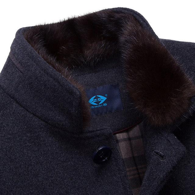 MUDI Wool Blends Men Coats Down Liner Detachable With 50% Wool Overcoat Mid-long Warm Male Jacket Slim Top Quality Coat Oversize 3