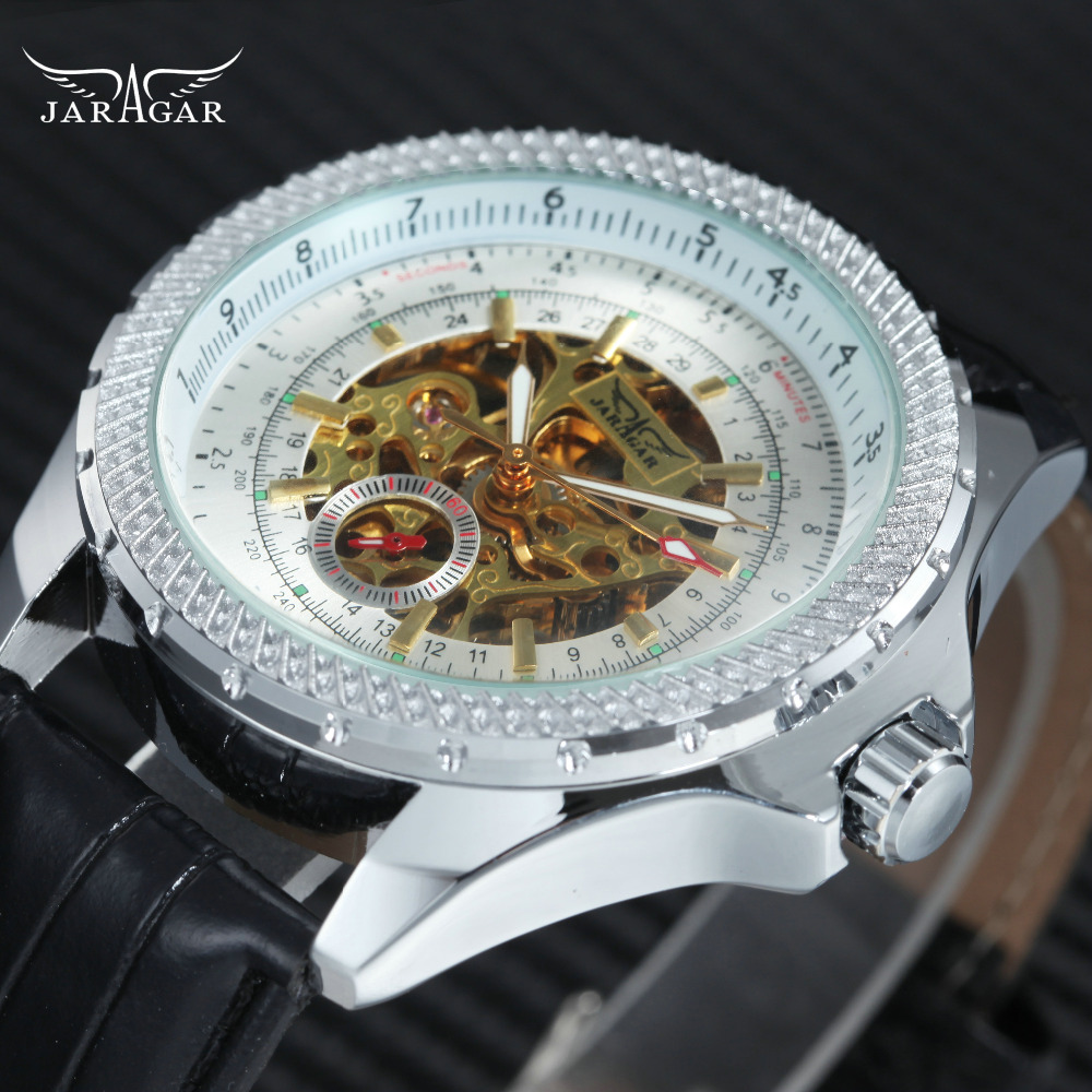 Top Brand Luxury Men Automatic Mechanical Wrist Watches WINNER Brand Golden Skeleton Louvre Series Design Dial Silver Metal Case цены