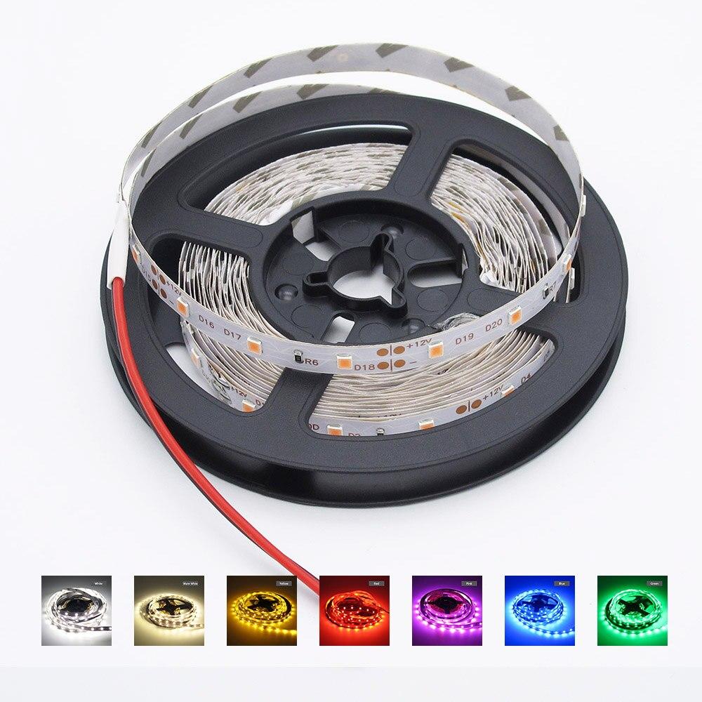 Tira de luces LED de 5 m/paquete, no resistente al agua, 5m SMD 2835 más brillante que 3528 5050, Flexible DC 12V 300 LEDs, cinta para fiestas navideñas para el hogar Tira LED RGB 5050 resistente al agua DC 12V 5M RGBW RGBWW tiras de luz LED Flexible con 3A de potencia y Control remoto
