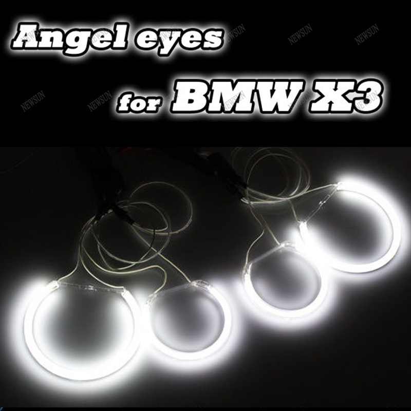 hot sale car angel eyes Headlights lamp for BMW E83 X3 Super Bright CCFL Angel Eyes Halo Rings Kit with inverters for x3 super bright 8000k ccfl angel eyes halo rings kit for bmw e46 non projector auto ccfl angel eye car headlights free shipping